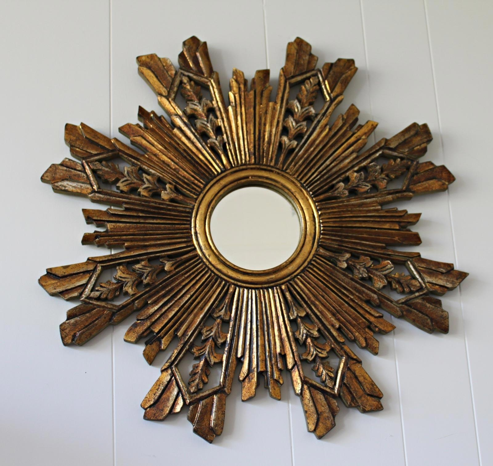 Decorating: Pretty Gold Sunburst Mirror For Wall Accessories Ideas Within Bronze Starburst Mirror (Image 5 of 21)