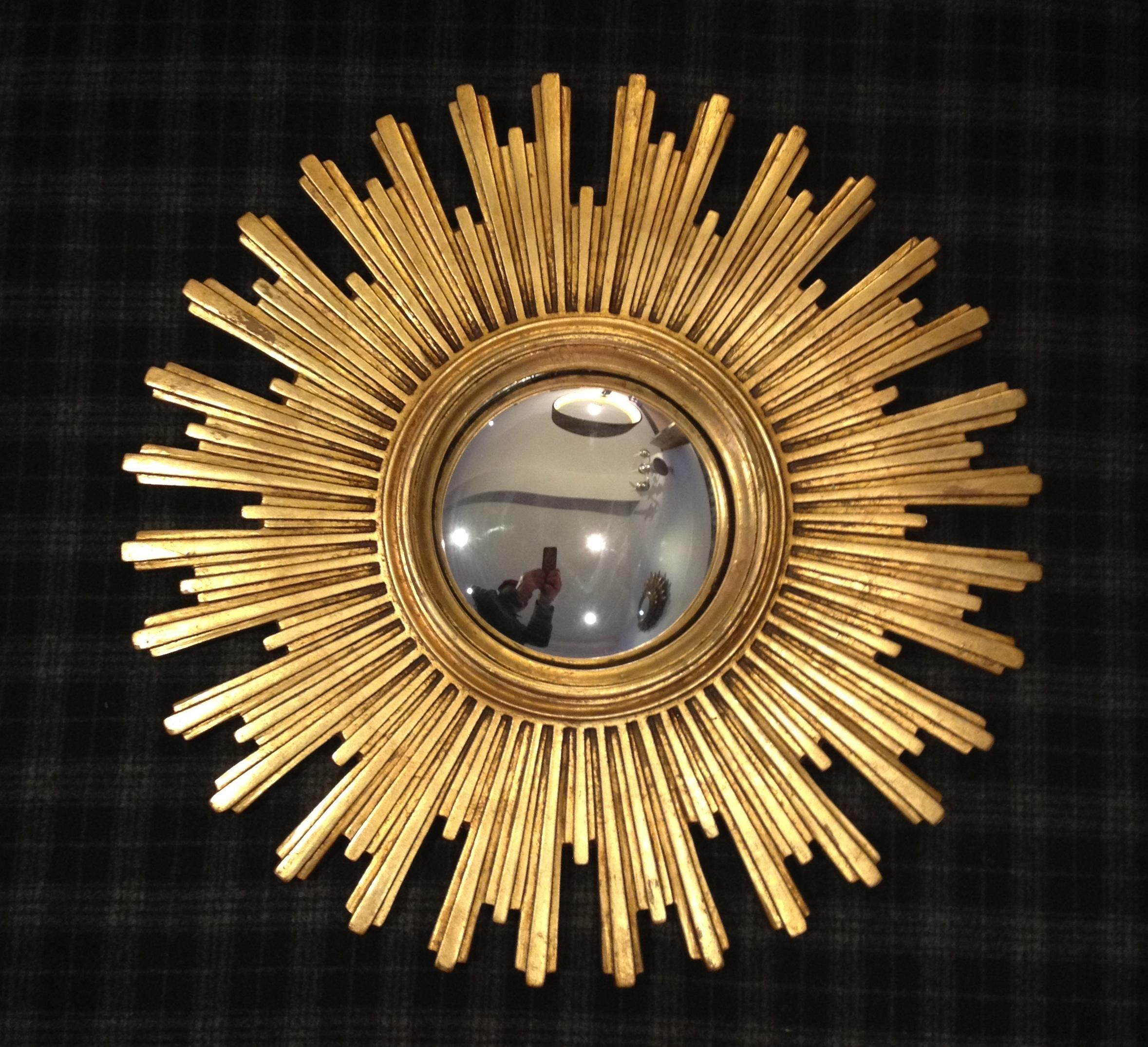 Decorating: Wooden Gold Sunburst Mirror For Wall Accessories Ideas Within Starburst Convex Mirror (Image 5 of 20)