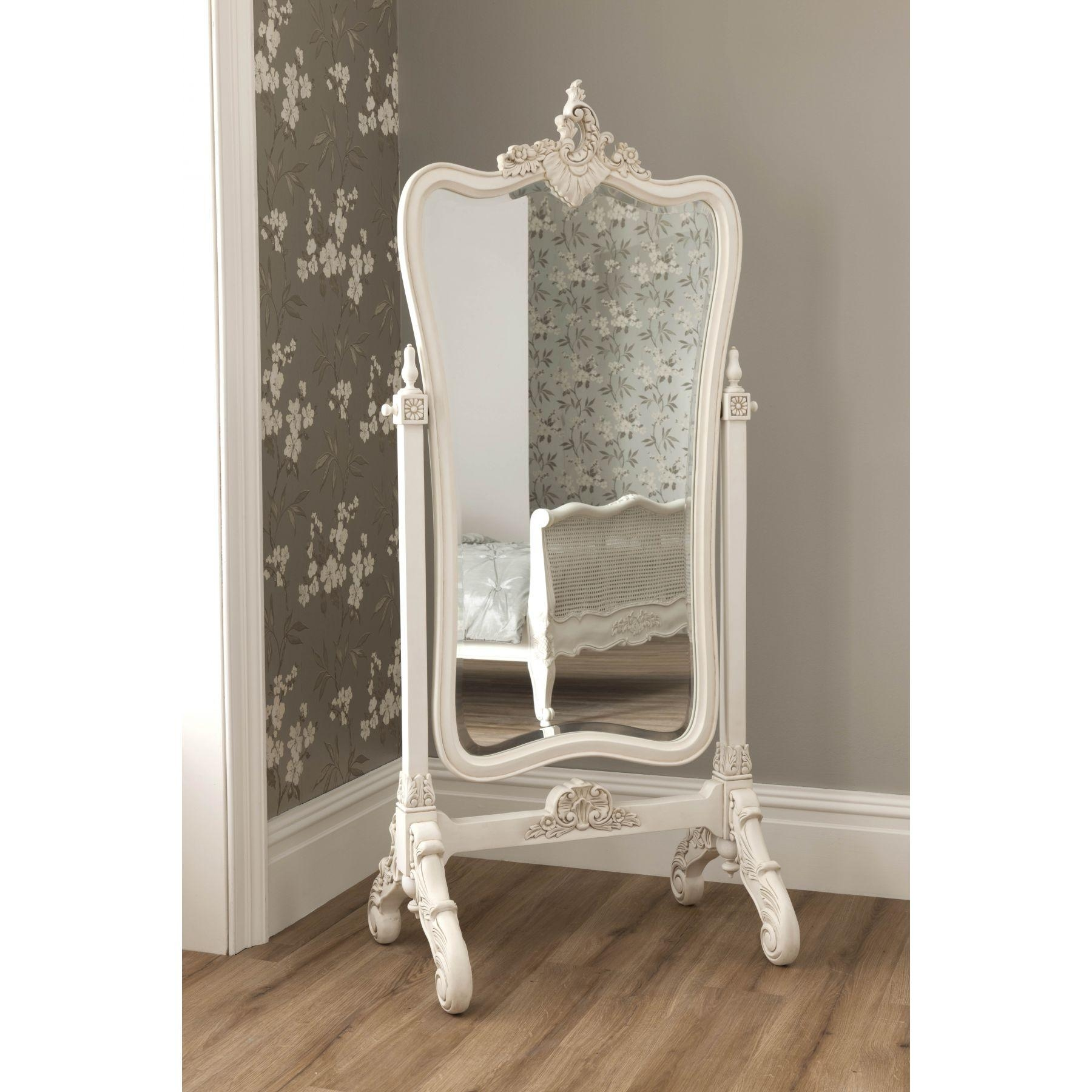 Decorating: Wrought Iron Cheval Mirror With Wooden Floor And Cream Regarding Cream Cheval Mirror (View 2 of 20)
