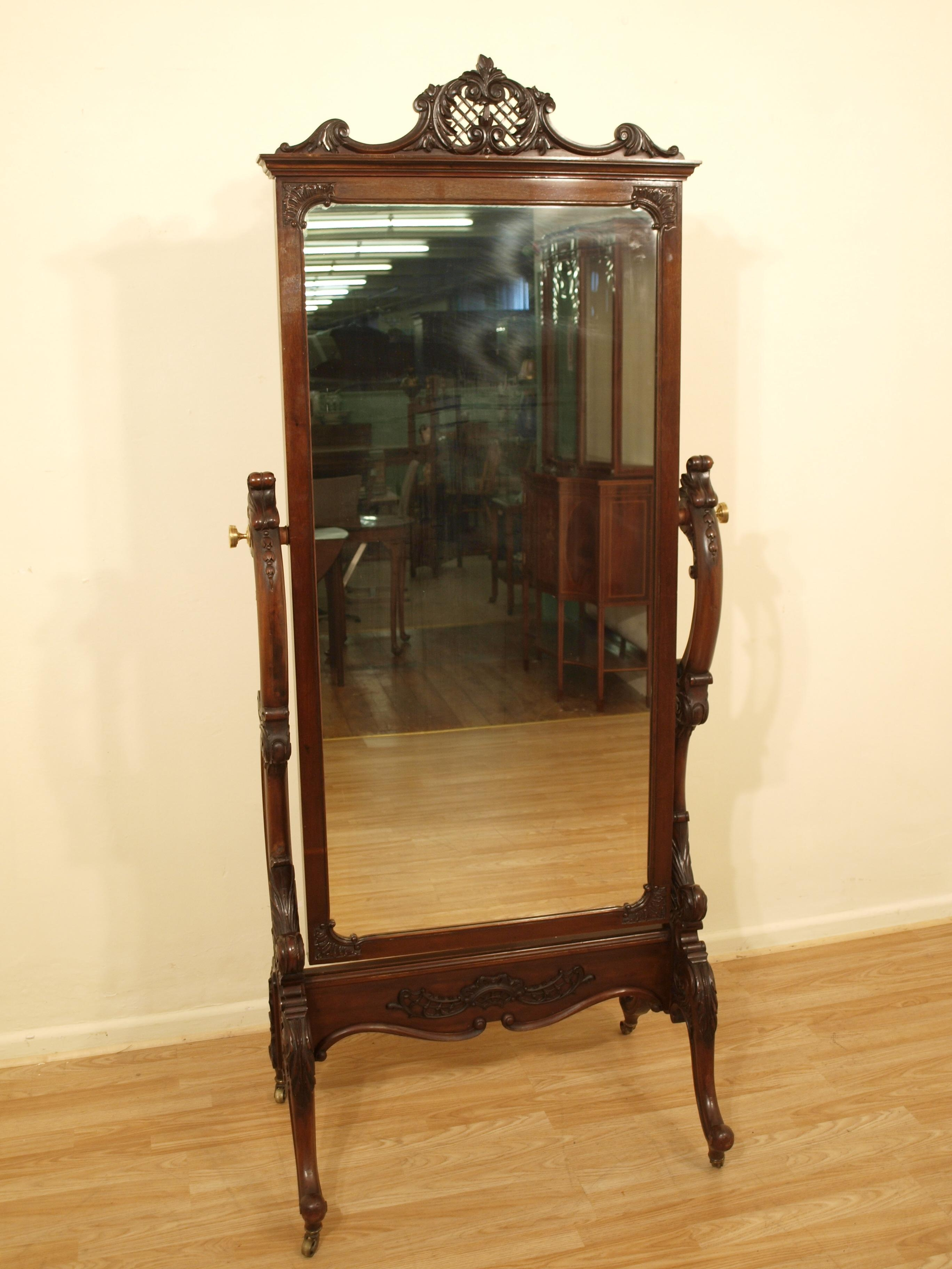 Decorating: Wrought Iron Cheval Mirror With Wooden Floor And Cream With Regard To Cream Cheval Mirror (View 19 of 20)