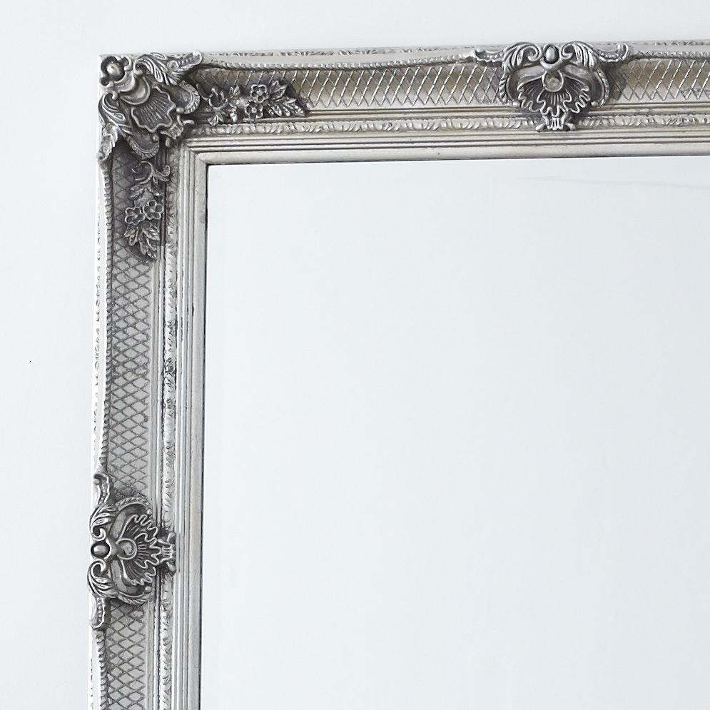 Decorative Antique Silver Full Length Mirror – Primrose & Plum Throughout Silver Long Mirror (Image 3 of 20)