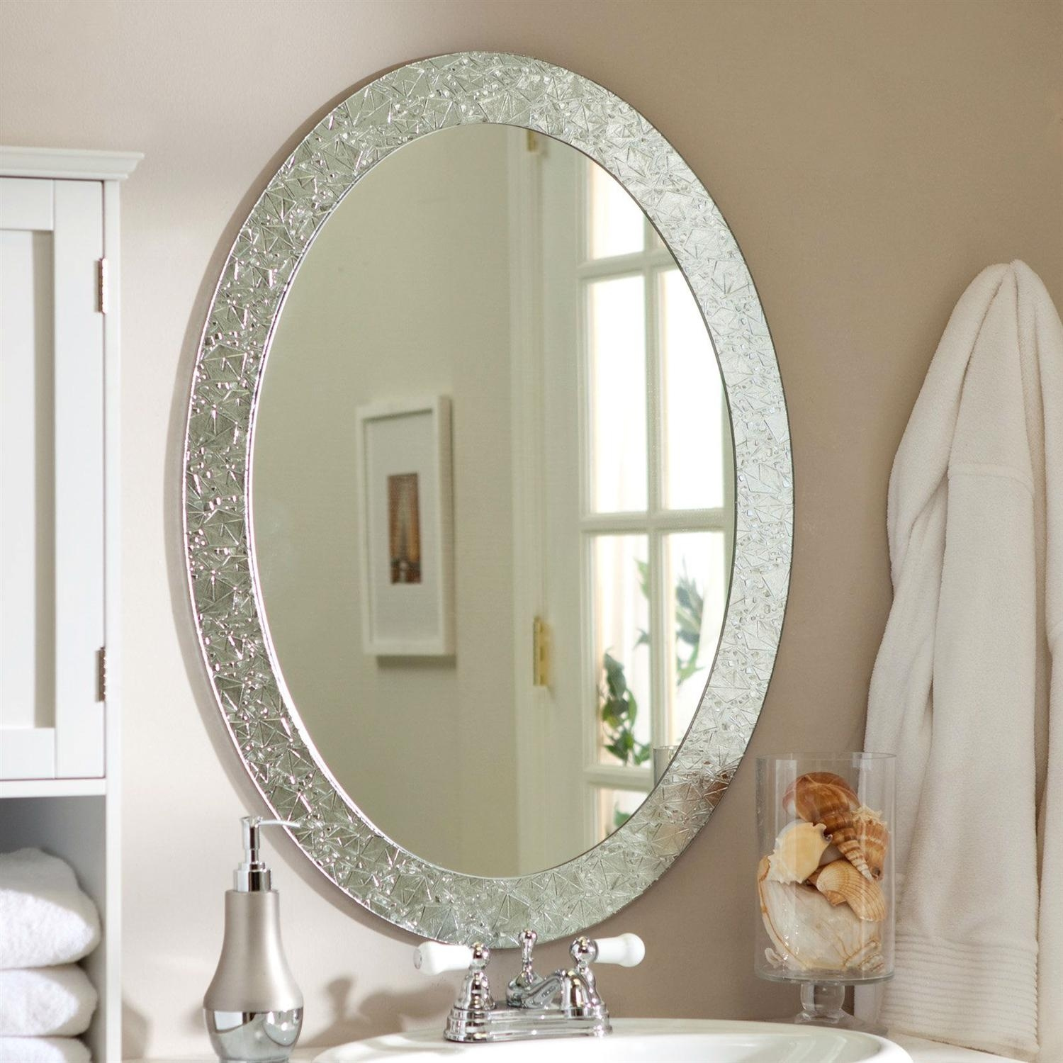 Decorative Round Mirrors For Walls Bathroom Mirror White Frame – 5 For Decorative Round Mirrors (Image 5 of 20)