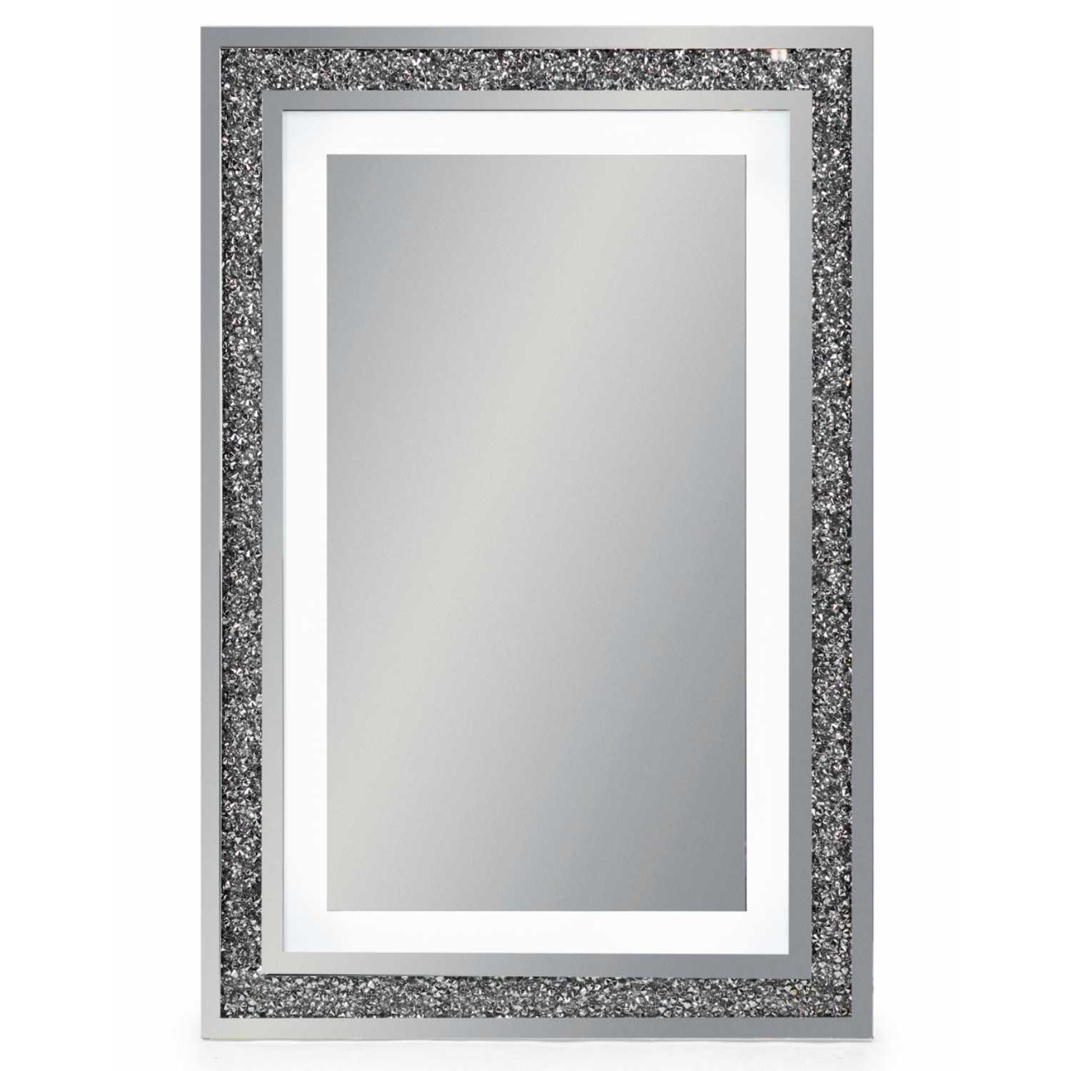 Decorative Venetian Glass Framed Led Light Wall Mirror With Crystals Regarding Mirror With Crystals (Image 9 of 20)
