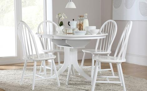 Decorative White Dining Tables And Chairs Ds10005668 Chair | Uotsh Regarding White Extendable Dining Tables And Chairs (View 7 of 20)
