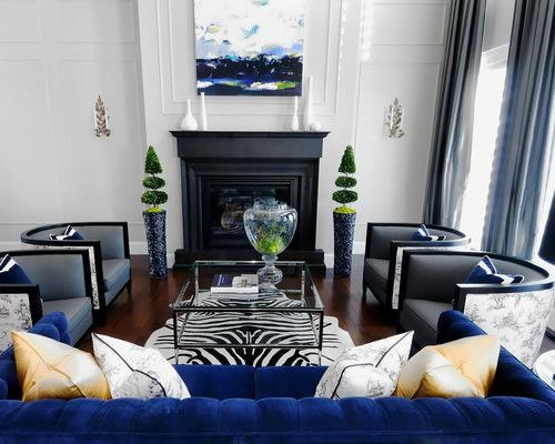 Deep Midnight Blue Walls Focus The Eye On Sumptuous Jewel Toned Within Midnight Blue Sofas (Image 14 of 20)