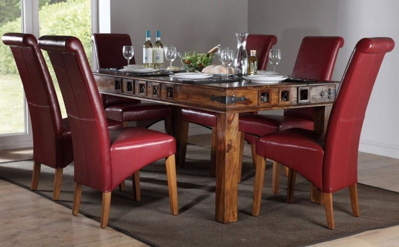 Delighful Dining Room Chairs Leather Faux To Decor With Red Dining Tables And Chairs (Image 7 of 20)