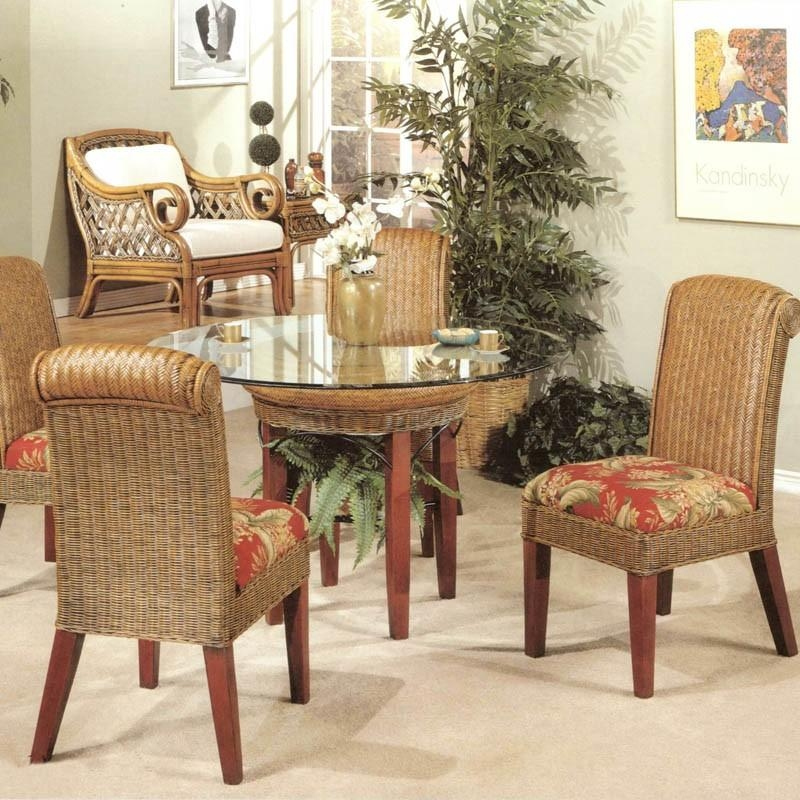 Delighful Rattan Dining Room Set Table With Wicker Chairs 8 Throughout Rattan Dining Tables And Chairs (Image 7 of 20)