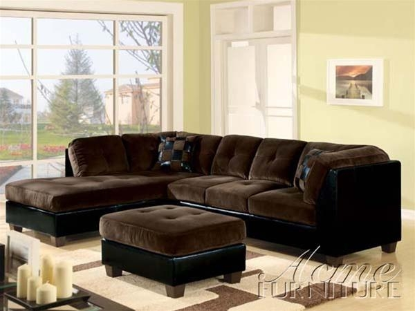 Deltona Ultra Plush Sectional Sofa In Brown Microfiber And Black Within Black Microfiber Sectional Sofas (Image 11 of 20)