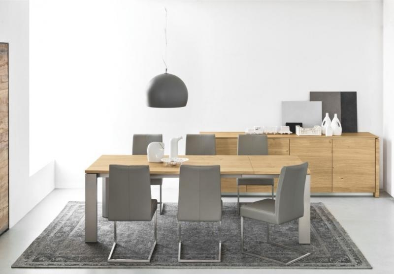 Designer Oak Dining Tables – Creditrestore Intended For Brushed Metal Dining Tables (View 15 of 20)