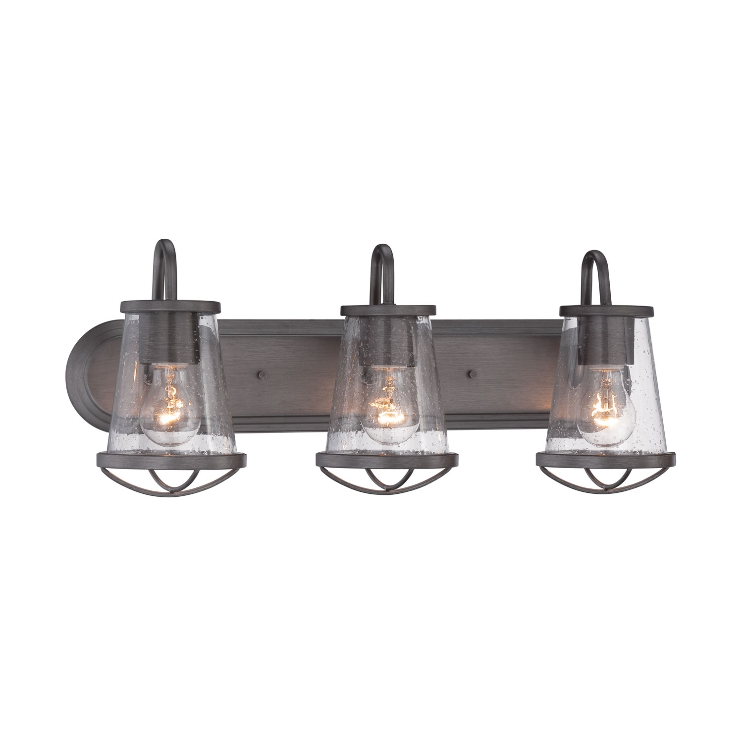 Designers Fountain Dar Weathered Iron Three Light Bath Bar On Sale Intended For Chandelier Bathroom Vanity Lighting (Image 20 of 25)