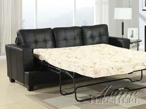 Diamond Black Leather Sleeper Sofaacme – 15061 With Black Leather Convertible Sofas (Image 9 of 20)