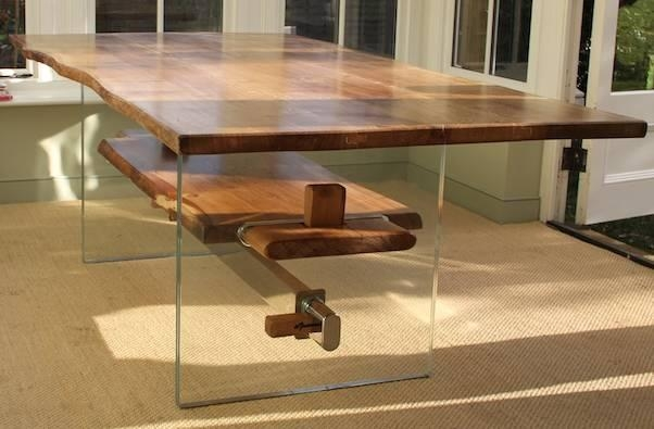 Dibosco – Rustic Oak, Glass And Stainles Steel Dining Table ( (Image 5 of 20)