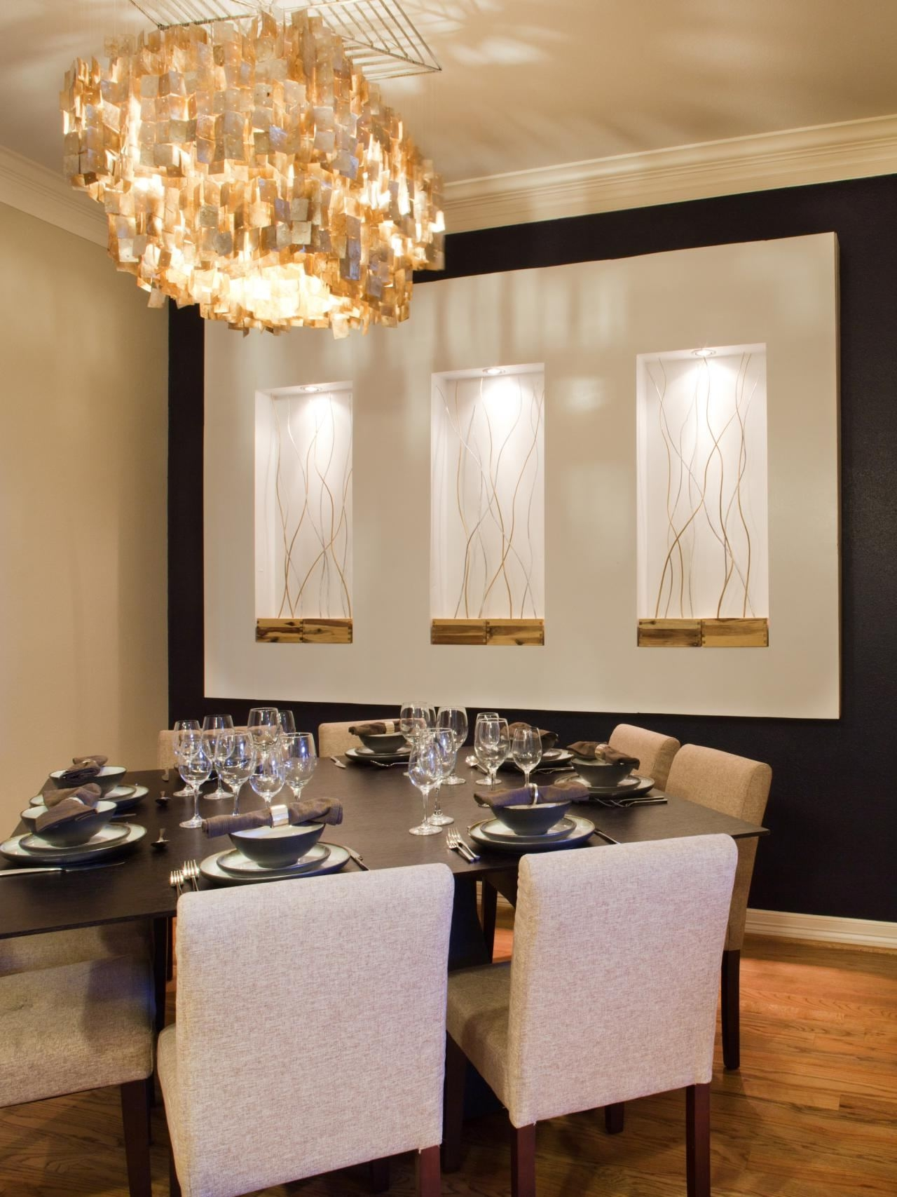 Dining Room Accent Wallpaper Looks Elegant Combined Wall Mounted For Wall Mounted Chandeliers (Image 2 of 25)