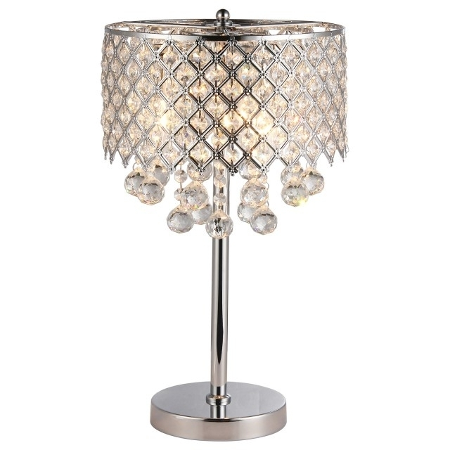 Dining Room Chrome Round Crystal Chandelier Bedroom Nightstand Regarding Chandelier Night Stand Lamps (Image 16 of 25)