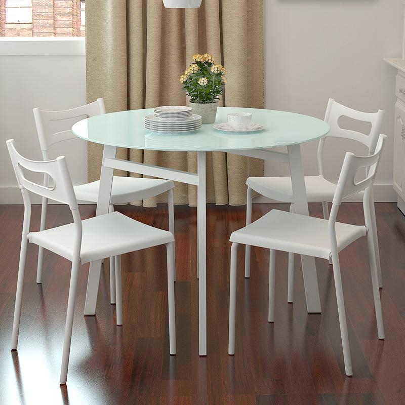 Dining Room : Modern Round Glass Dining Room Table Cool Round Inside Small White Dining Tables (Image 7 of 20)
