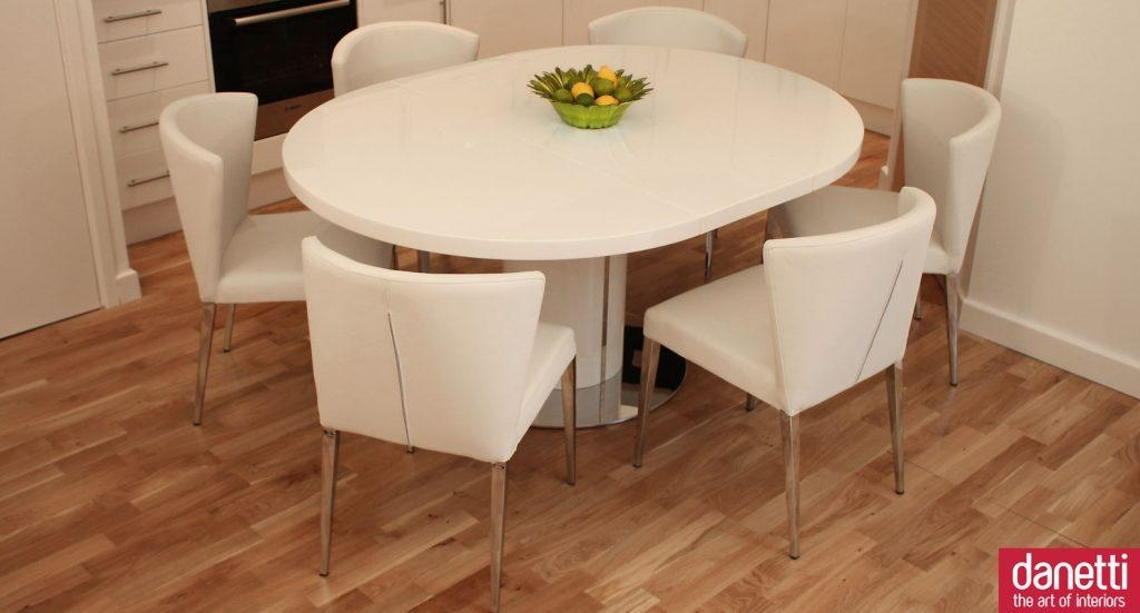 Dining Room ~ Savor Modern Round White Lacquer Glass 2017 Dining Intended For Round White Extendable Dining Tables (Image 6 of 20)