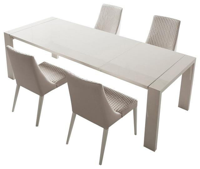 Dining Room: Stunning Expandable Dining Table Set In White For Regarding White Square Extending Dining Tables (Image 5 of 20)