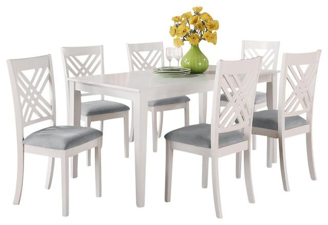 Dining Room Table Set White Dining Table Set With 6 Double X Back Pertaining To White Dining Tables And 6 Chairs (Image 6 of 20)