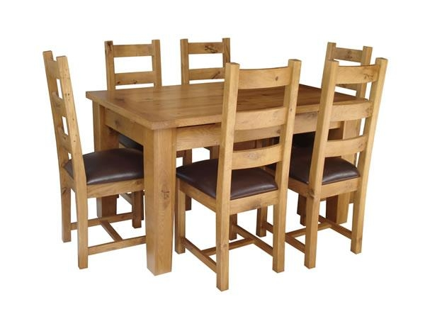 Dining Room Tables And Chairs Intended For Chunky Solid Oak Dining Tables And 6 Chairs (View 14 of 20)