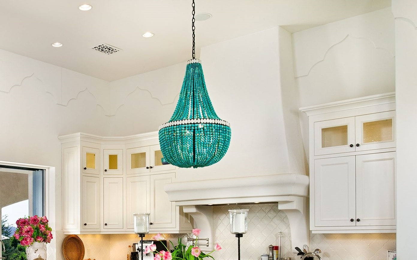 Dining Room Turquoise Beaded Chandelier Pictures Decorations Throughout Turquoise Chandelier Lights (Image 14 of 25)