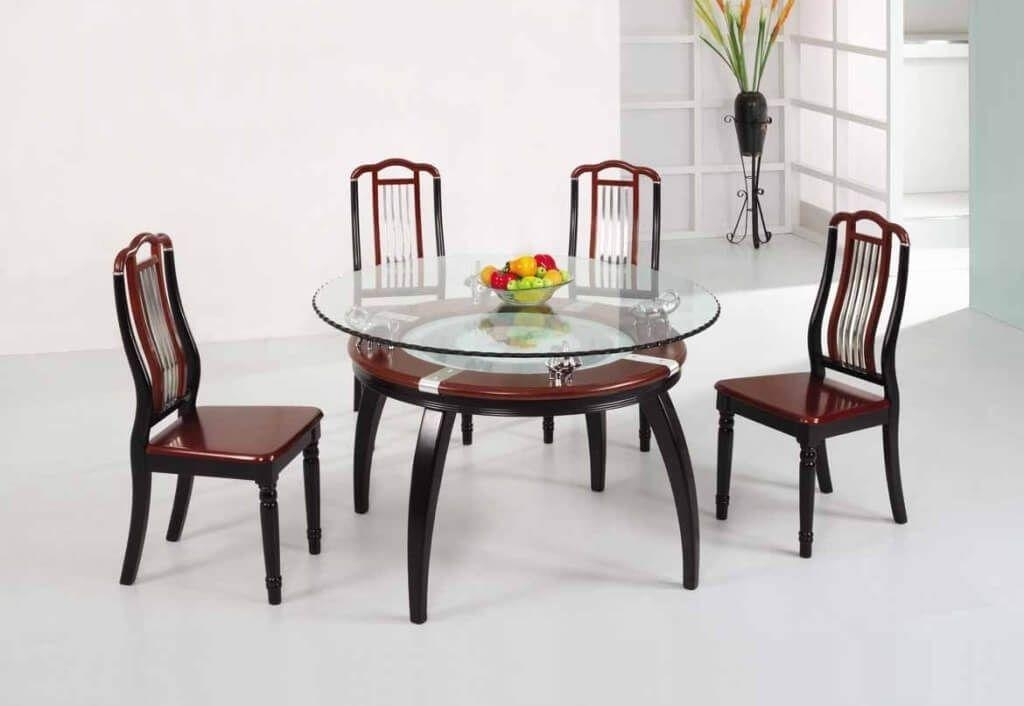Dining Room: Wonderful Rectangular Black Glass Dining Table Set Regarding Wooden Glass Dining Tables (Image 8 of 20)