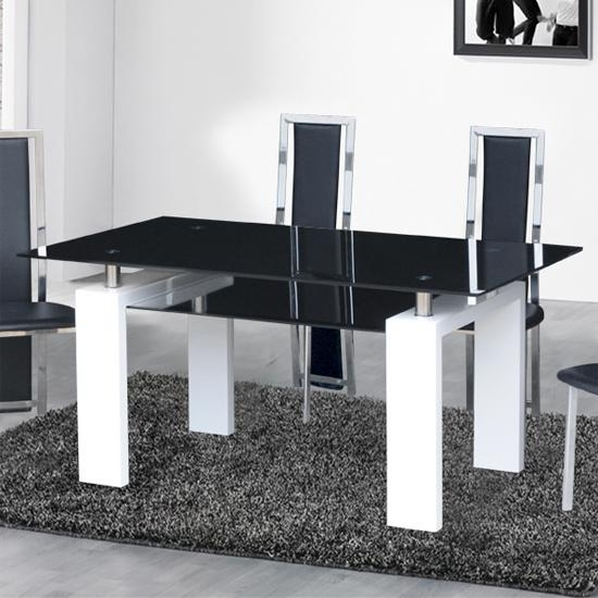 Dining Table In Black Glass With White Gloss Legs In Metro Dining Tables (Image 9 of 20)
