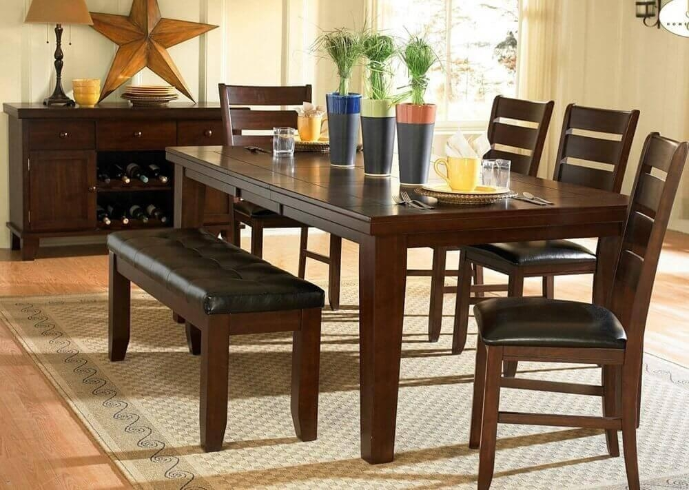 Dining Table Set With Bench Intended For Small Dining Tables And Bench Sets (Image 13 of 20)