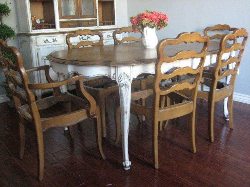 Dining Table Shabby Chic Yellow Light Copper Chandelier Round Pertaining To Birch Dining Tables (View 12 of 20)