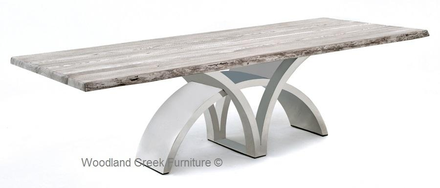Dining Table With Contemporary Stainless Steel Base In Contemporary Base Dining Tables (Image 12 of 20)