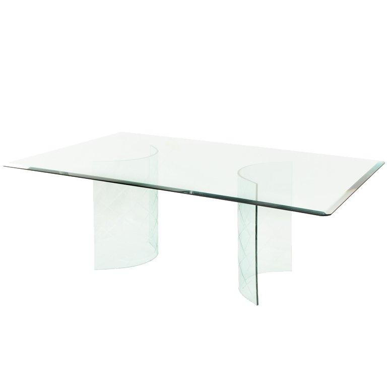 Dining Table With Etched Curved Glass Bases For Sale At 1Stdibs With Curved Glass Dining Tables (Image 11 of 20)