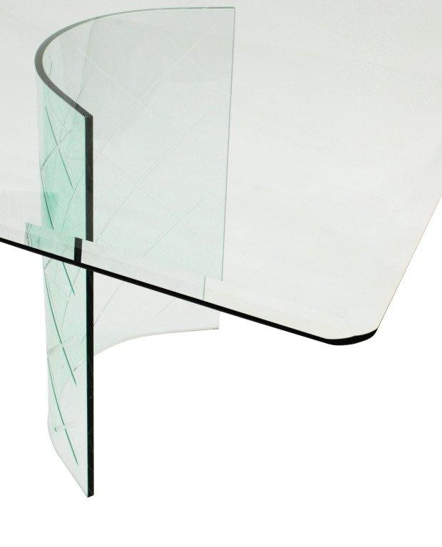 Dining Table With Etched Curved Glass Bases For Sale At 1Stdibs Within Curved Glass Dining Tables (Image 12 of 20)