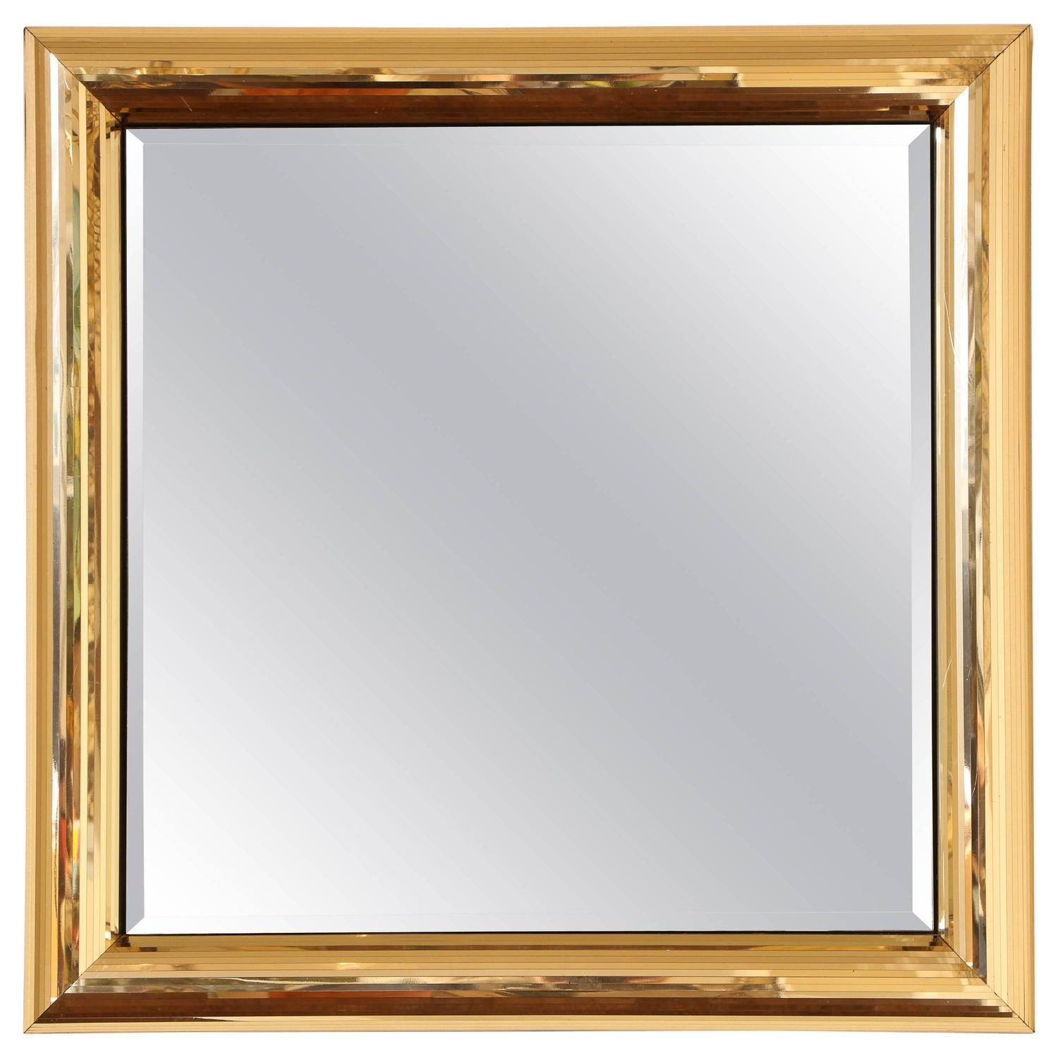 Disco Ball Gold Square Mirror Frame At 1Stdibs Regarding Square Gold Mirror (Image 3 of 20)