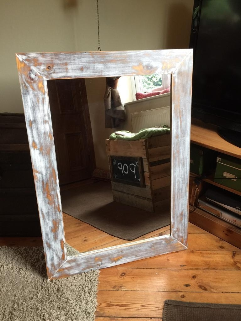 Distressed Shabby Chic Mirror Large Shabby Mirror White Mirror Pertaining To Large Shabby Chic Mirror White (Image 8 of 20)