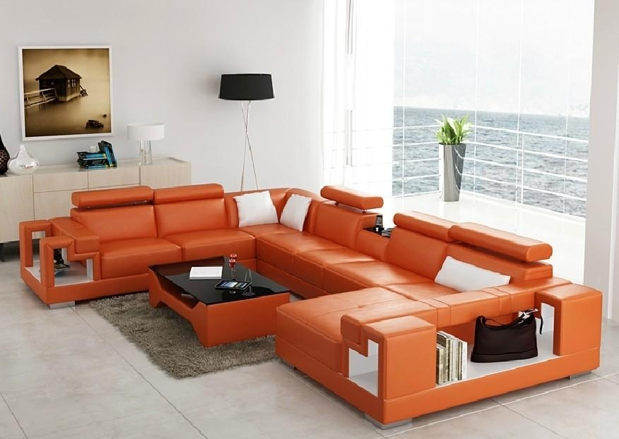 Divani Casa 6138 Modern Orange And White Leather Sectional Sofa With Orange Modern Sofas (View 5 of 20)