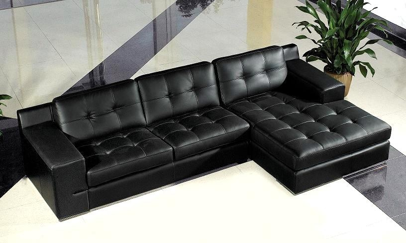 Divani Casa Modern Black Leather Sectional Sofa (Image 6 of 20)