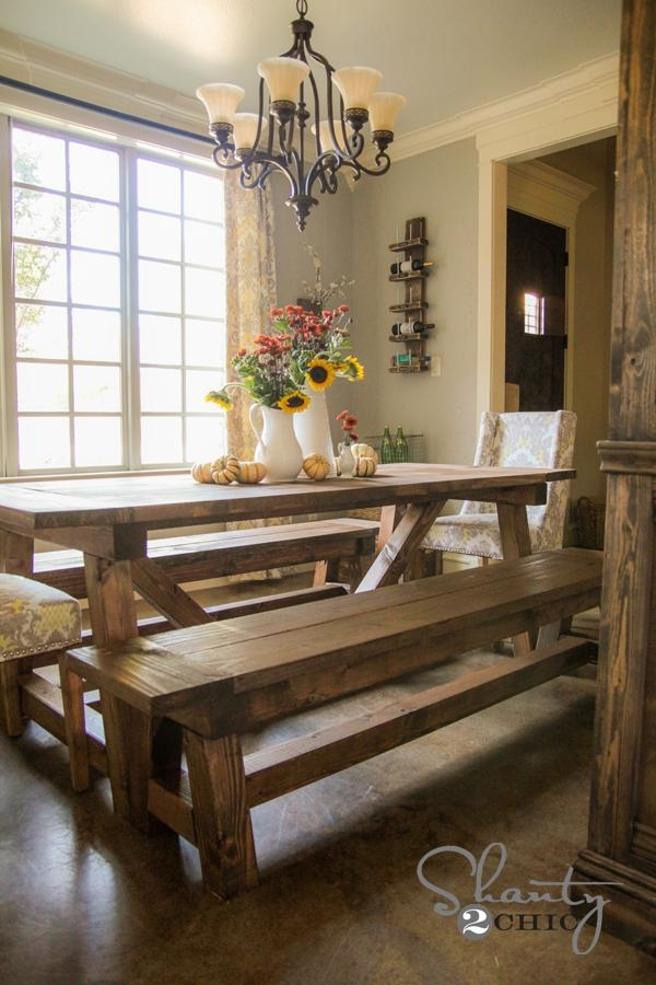 Diy $40 Bench For The Dining Table – Shanty 2 Chic Throughout Dining Tables And 2 Benches (Image 13 of 20)
