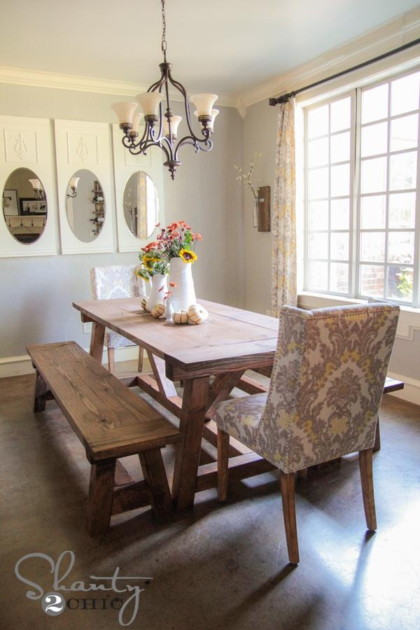 Diy $40 Bench For The Dining Table – Shanty 2 Chic Throughout Dining Tables And 2 Benches (Image 14 of 20)