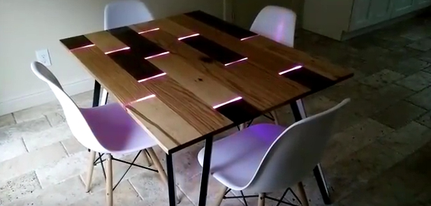 Diy Dining Table Complete With Led Lights – How To Minute With Led Dining Tables Lights (Image 6 of 20)
