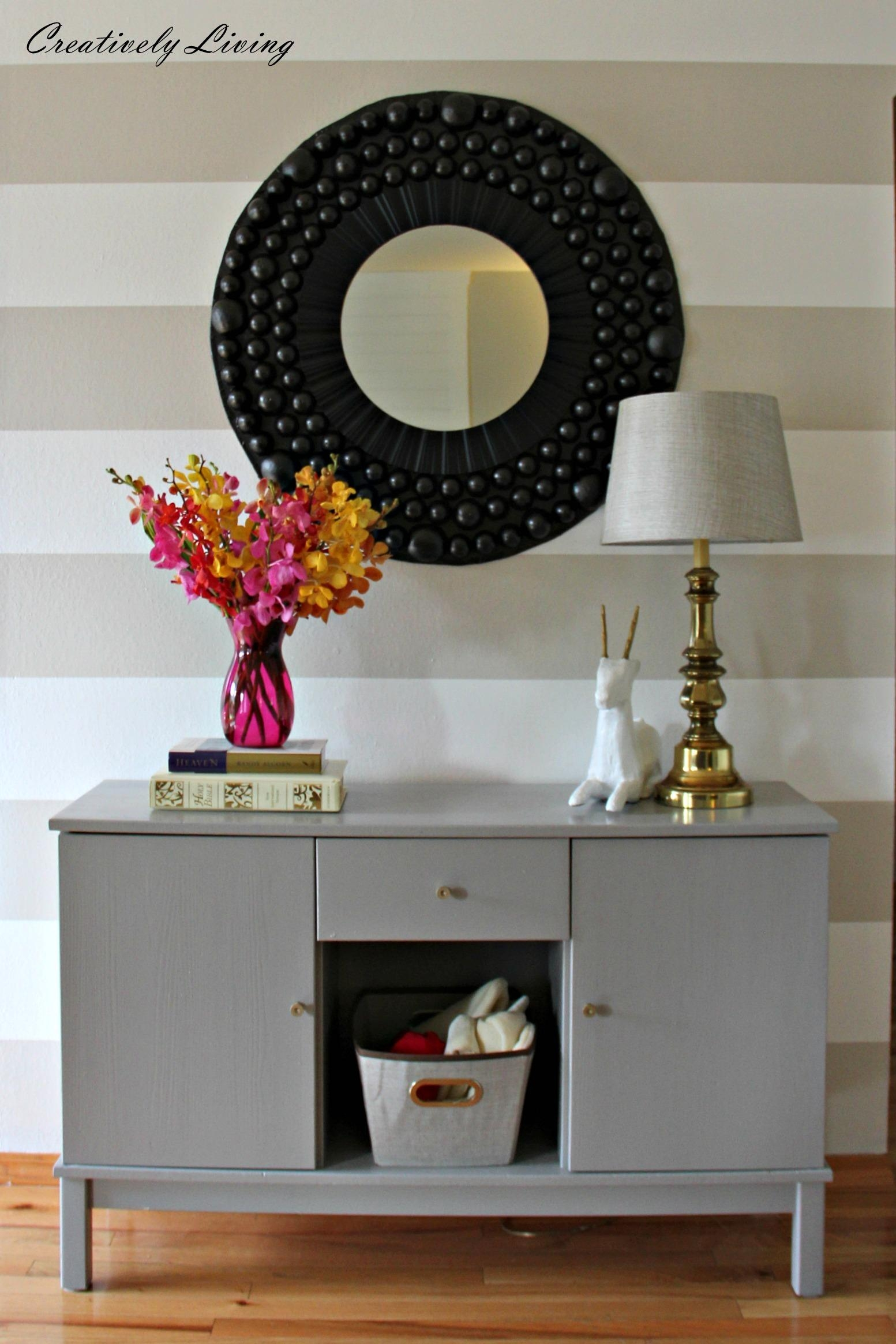 Diy Entryway Dresser Makeovercreatively Living Blog With Regard To Large Bubble Mirror (Image 13 of 20)