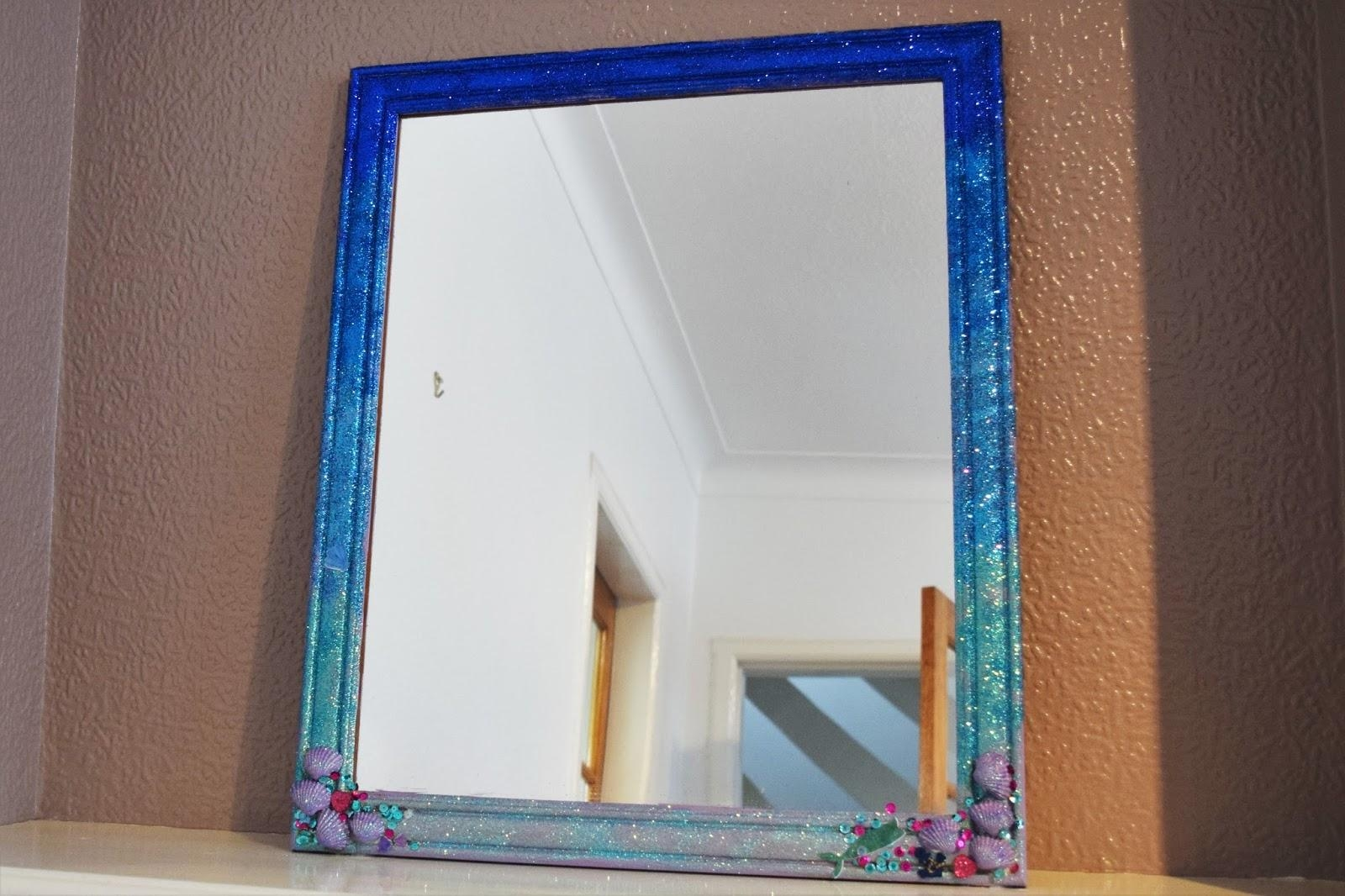 Diy Ombre Glitter Mermaid Mirror – A Life With Frills Pertaining To Glitter Frame Mirror (Image 6 of 20)