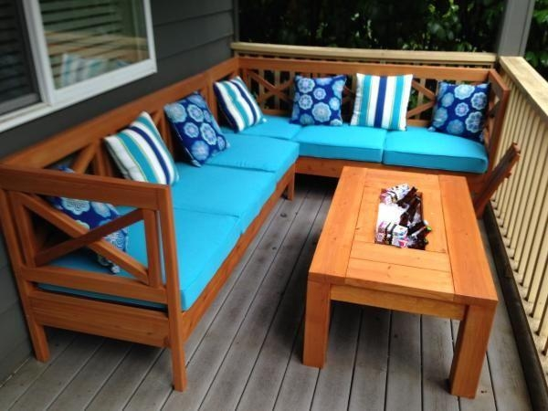 Diy Outdoor Sectional X Design Wood With Coffee Table Ice Tray Intended For Ana White Outdoor Sofas (Image 14 of 20)