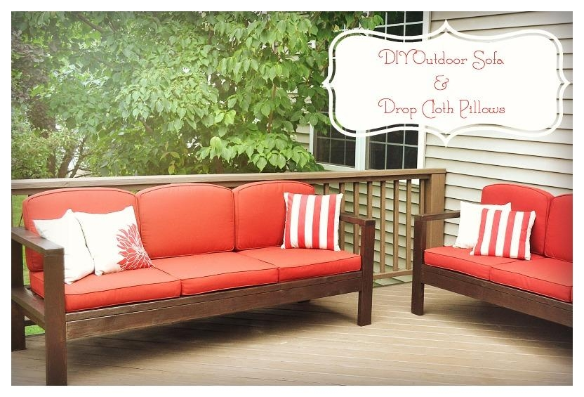 Diy Outdoor Sofa And Drop Cloth Pillow Case Tutorial | Nikki, In Within Ana White Outdoor Sofas (Image 15 of 20)
