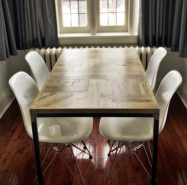 Diy Pallet Wood Dining Table With Steel Legs | 101 Pallets In Dining Tables With Metal Legs Wood Top (Image 13 of 20)