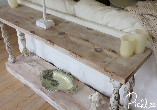 Diy Reclaimed Sofa Table [Tutorial] – Picklee Throughout Country Sofa Tables (Image 14 of 20)