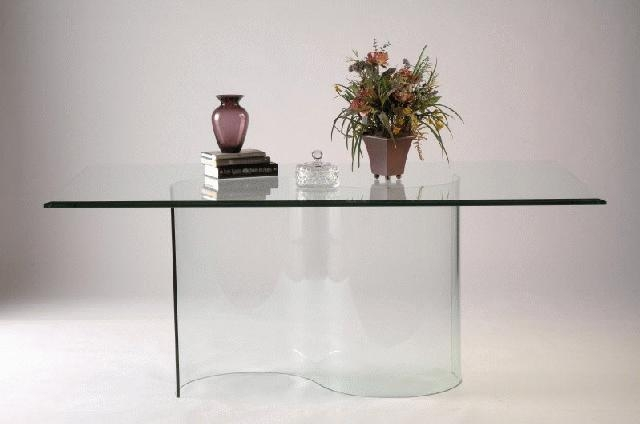 Double Curved All Glass Dining Table Base For Curved Glass Dining Tables (Image 14 of 20)