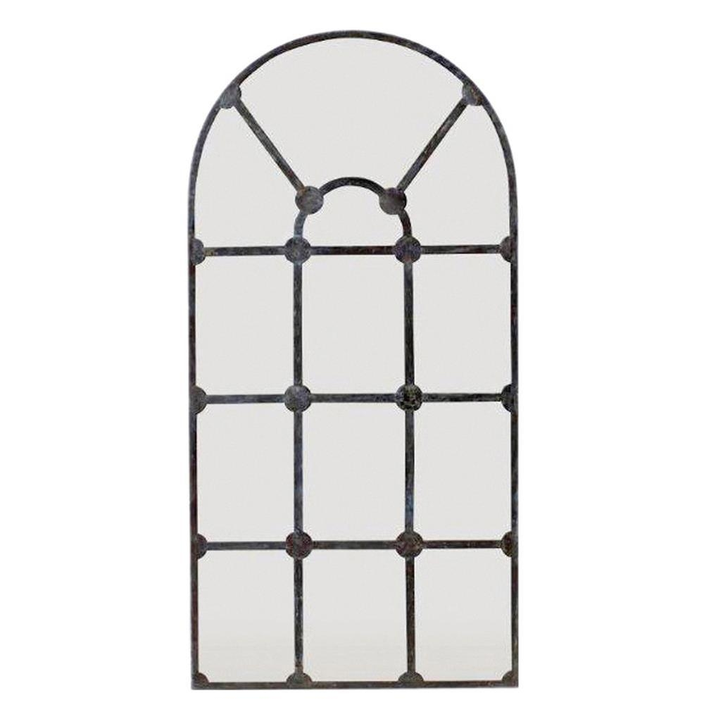 Drake Antique French Window Pane Arched Metal Mirror | Kathy Kuo Home Throughout Antique Arched Mirror (Image 12 of 20)
