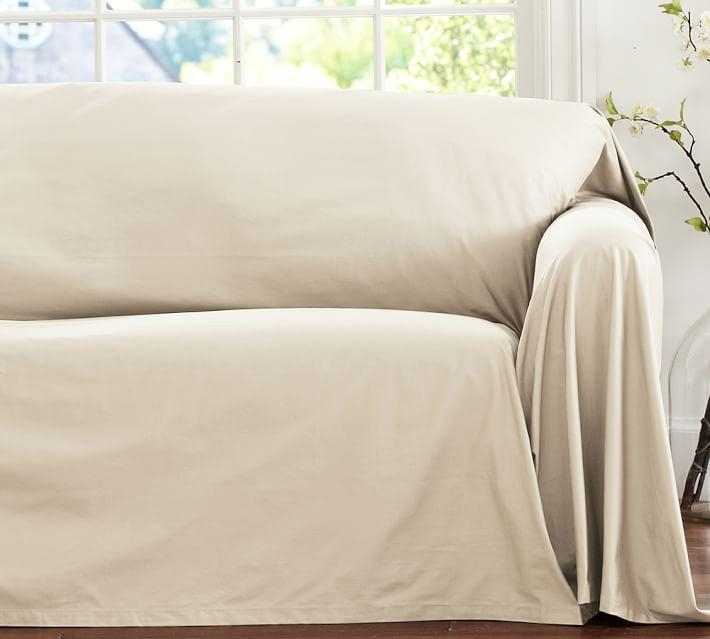Dropcloth Loose Fit Slipcover – Twill | Pottery Barn With Regard To Canvas Sofas Covers (Image 6 of 20)