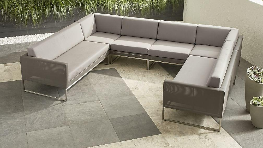 Dune 6 Piece Sectional Sofa With Sunbrella ® Cushions | Crate And With 6 Piece Sectional Sofas Couches (Image 15 of 20)
