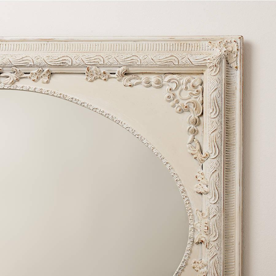 Dutch Oval Ornate Cream Painted Mirrorhand Crafted Mirrors Regarding Oval Cream Mirror (Image 7 of 20)