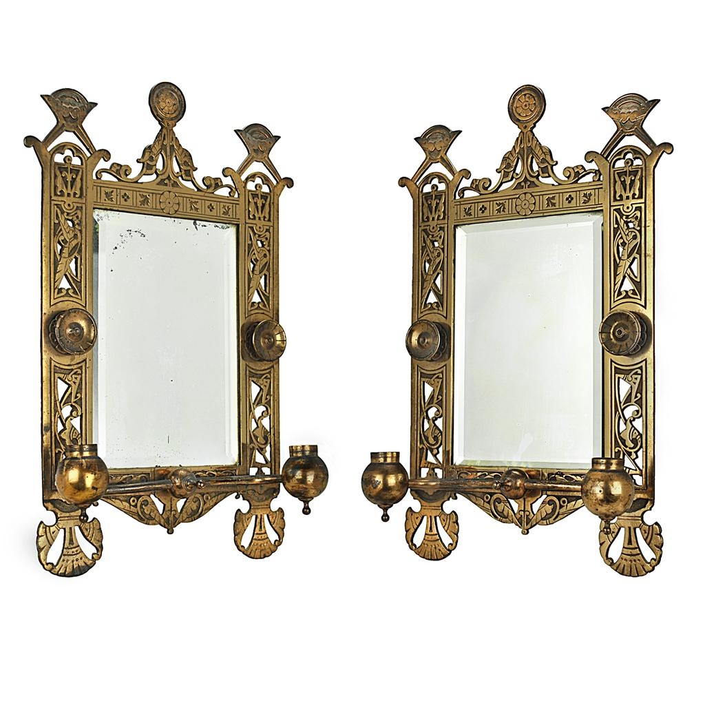 Eastlake Victorian Pair Of Candle Sconces Brackets W/ Beveled Regarding Victorian Style Mirrors (View 13 of 20)